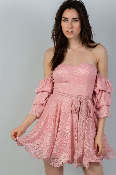 Blush Lace Off the Shoulder Mini Dress - Savage Garb