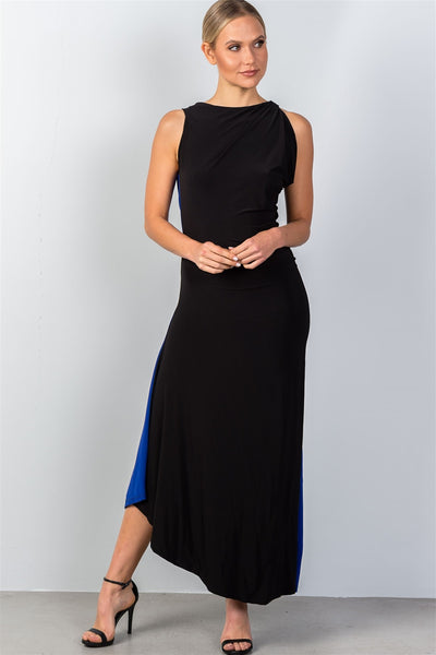 Two Toned Maxi Dress with Open Chain Back - Savage Garb