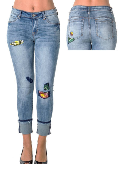 Cropped Faded Jeans with Patches and Embroidery - Savage Garb