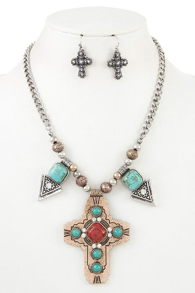 Etched Cross Pendant Gem Necklace Set - Savage Garb