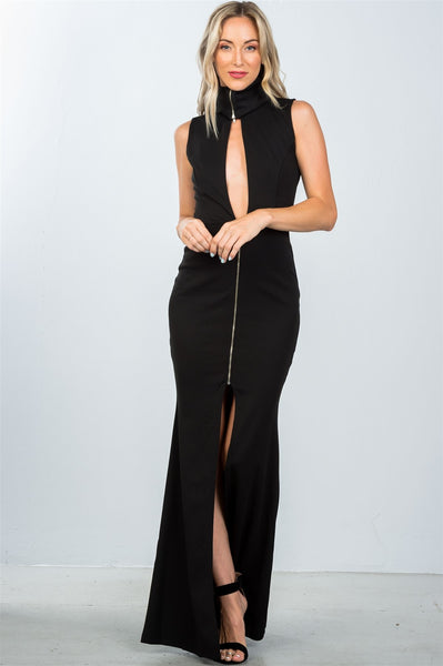 Ladies fashion zipper statement turtleneck maxi dress - Savage Garb