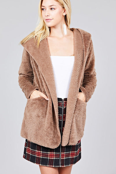 Taupe Faux Fur Hooded Jacket - Savage Garb