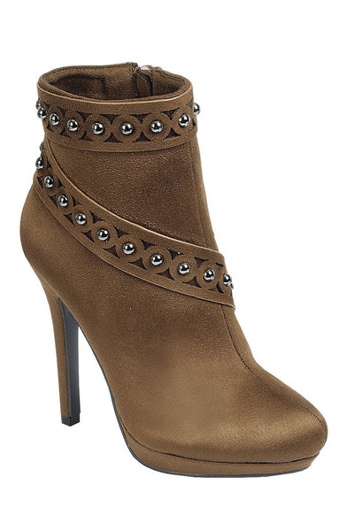 Ladies fashion high heel ankle boot, almond toe, stiletto heel, with zipper closure and decorative studs - Savage Garb