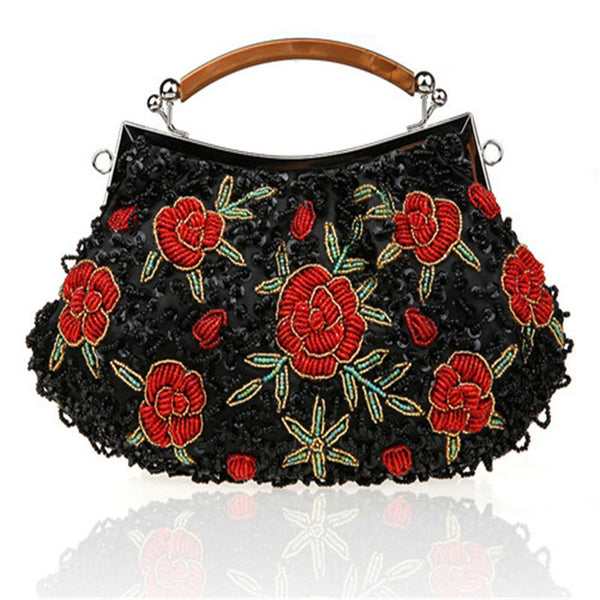 Floral Beaded Women's Evening Bag Clutch Bag 10 Colors - Savage Garb