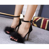 Furry Ankle Strap High Heel Sandals 3 Colors - Savage Garb