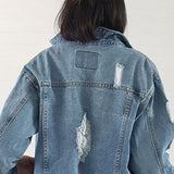 Faded Distressed Women's Jean Jacket/Denim Jacket - Savage Garb