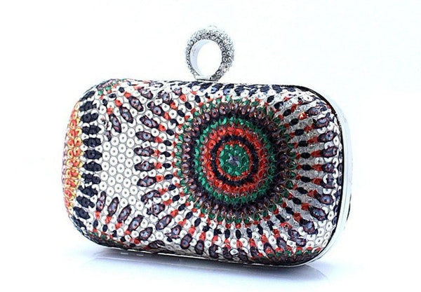 Women's Sequined and Rhinestone Clutch Knuckle Ring Evening Bag 5 Colors - Savage Garb