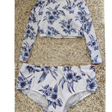 Long Sleeved Crop Top Bathing Suit with Boy Short Bottoms - Savage Garb