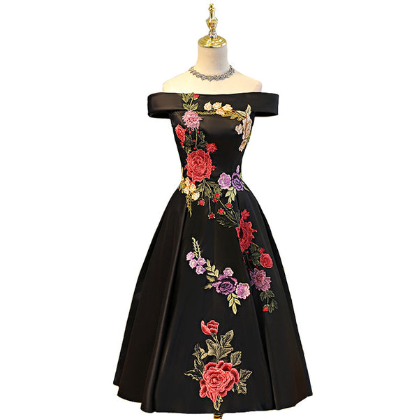 Off the Shoulder Tea Length Floral Applique Women's Dress 11 Colors - Savage Garb