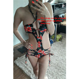 Women's Floral Strappy Monokini One Piece Swimsuit - Savage Garb