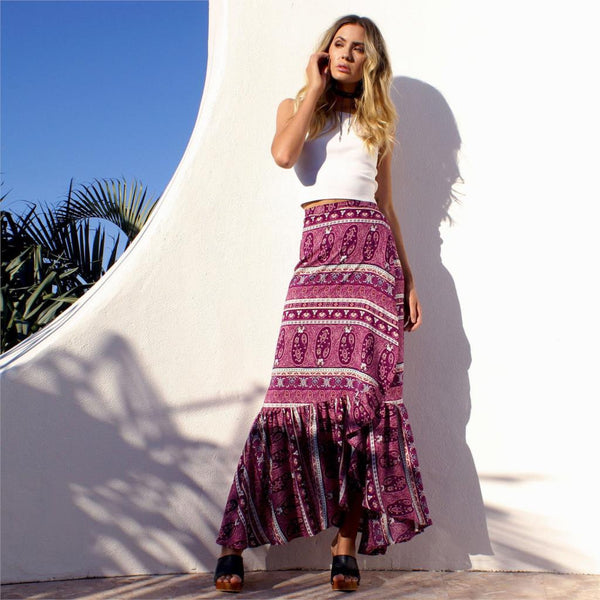 Purple Paisley Print Boho Wrap Maxi Skirt - Savage Garb