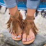 Women's Bohemian Flat Suede Fringed Sandals 3 Colors - Savage Garb