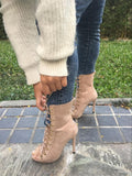 Lace Up Open Toe Ankle Boots 2 Colors - Savage Garb