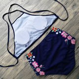 Floral Trimmed High waisted Women's 2 Piece Swimsuit - Savage Garb