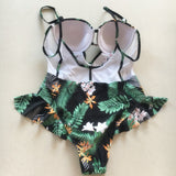 Leaf Print Peplum Style One Piece Swimsuit with Mesh Back - Savage Garb