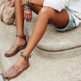 Leather Ankle Strap Flats 2 Colors