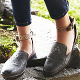 Leather Ankle Strap Flats 2 Colors - Savage Garb
