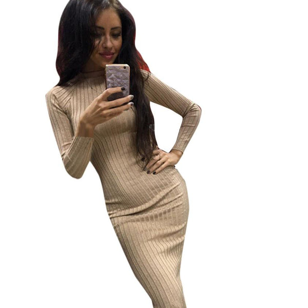 Long Sleeve Fitted BodyCon Dress 2 Colors - Savage Garb