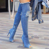 Thigh Length High heel Denim Boots 4 Colors - Savage Garb