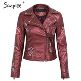 Studded Embroidered Black Motorcycle Jacket 4 Colors - Savage Garb