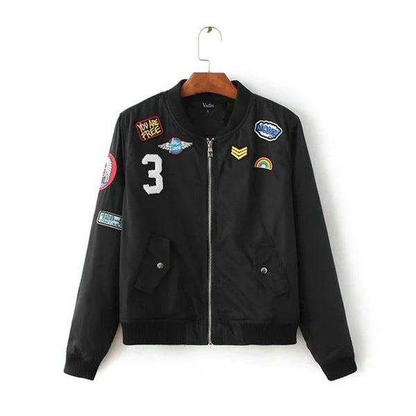 Retro Bomber jacket with Patches 2 Colors - Savage Garb