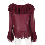 Sheer Ruffled Long Sleeved Top - Savage Garb