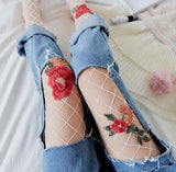 Floral Embroidered Fishnet Tights 2 Colors
