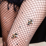 Rhinestone Bees and Stars Black Fishnet Tights - Savage Garb