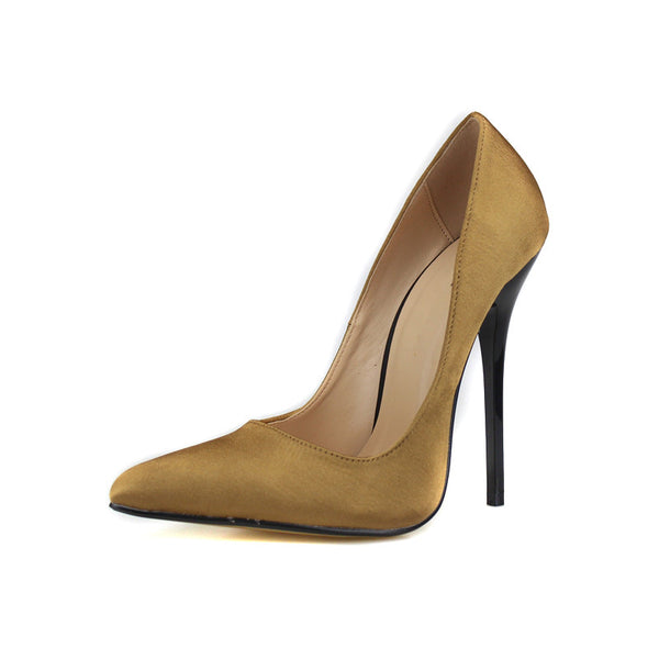 Pointed Toe Satin Pumps 7 Colors Sizes 9 to 18