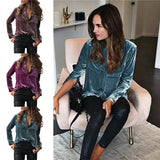 Velvet Button Down Top 3 Colors