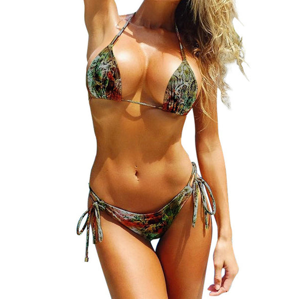 Snakeskin Print String Bikini-Ships from The USA - Savage Garb