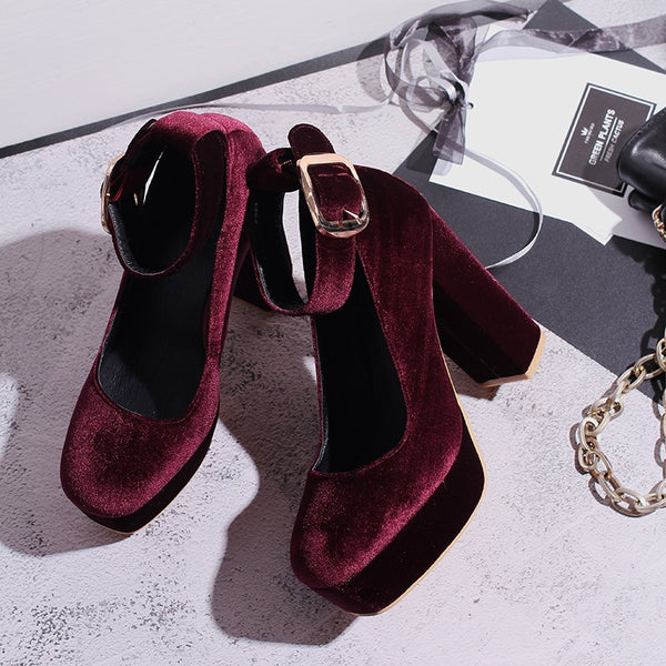 Val Velvet Platform Chunky Heel Pumps 4 Colors - Savage Garb
