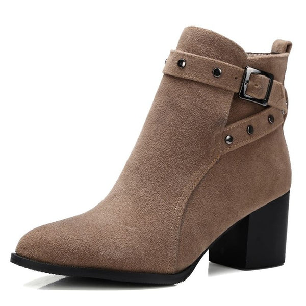 Cross Buckle Strap Ankle Boots 3 Colors Size 4 to 17 - Savage Garb