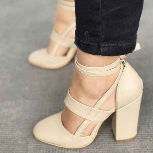 ... Savannah Strappy Leather Block Heel Women s Shoe 5 Colors - Savage ... a0d8bfb21f