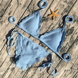 Scallop Edged String Bikini 4 Colors-Ships from the USA - Savage Garb
