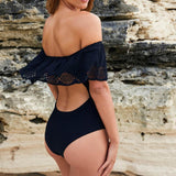 Off the Shoulder One Piece Swimsuit-Ships from The USA - Savage Garb