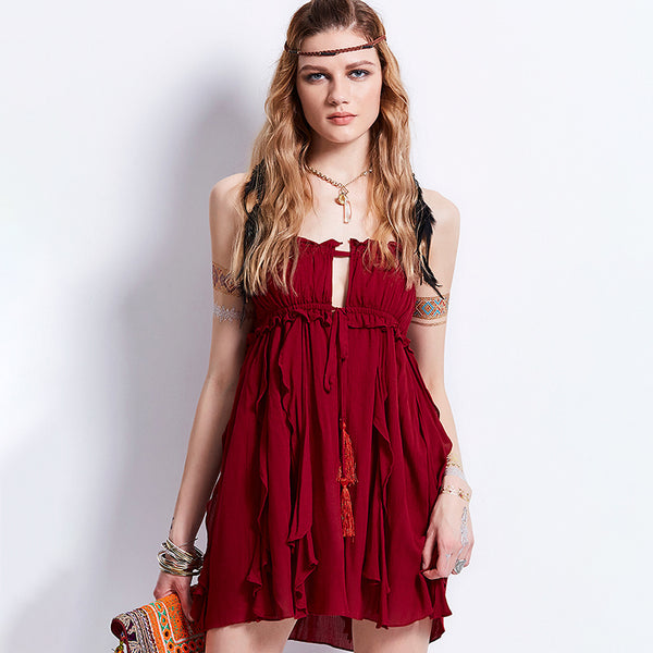 291fbdb78df3 ... Burgundy Boho Mini Dress - Savage Garb ...