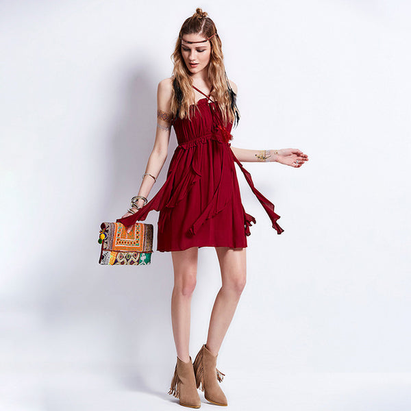 475de48bccd6 Burgundy Boho Mini Dress - Savage Garb