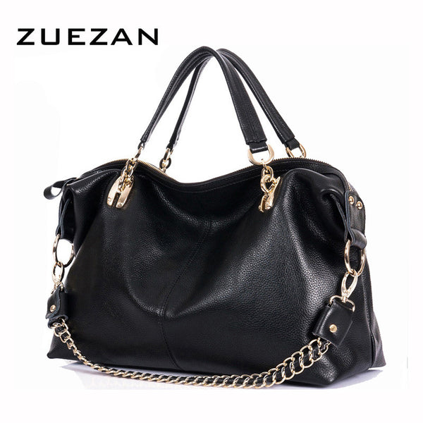 Large Black Leather Satchel with Chain Shoulder Strap