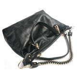Large Black Leather Satchel with Chain Shoulder Strap - Savage Garb