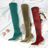 Gracie Over the Knee Microfiber Boots with Crystal Heel 3 Colors - Savage Garb