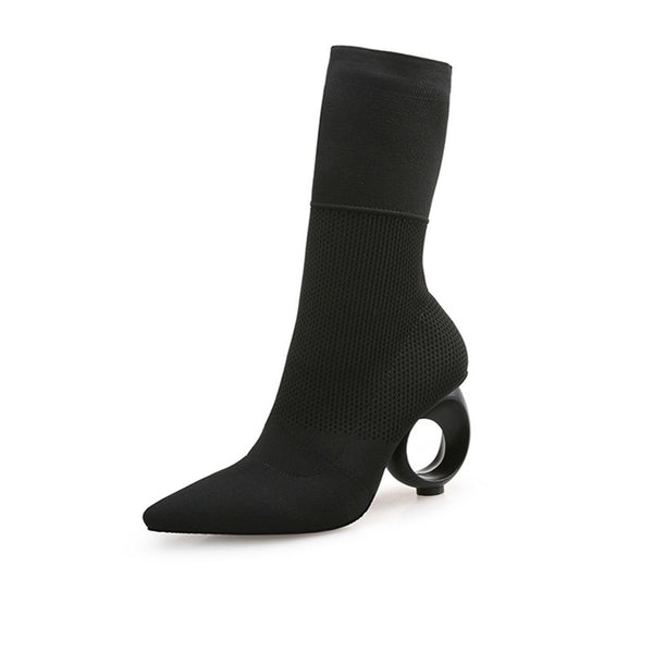 Bette Black Sock Boots with Round Heels 2 Colors - Savage Garb