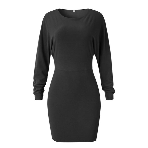 Fitted Mini Dress with Dolman Sleeves 4 Colors - Savage Garb