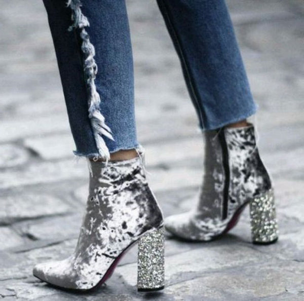 Crushed Velvet Ankle Boots with Glitter Heels 2 Colors - Savage Garb