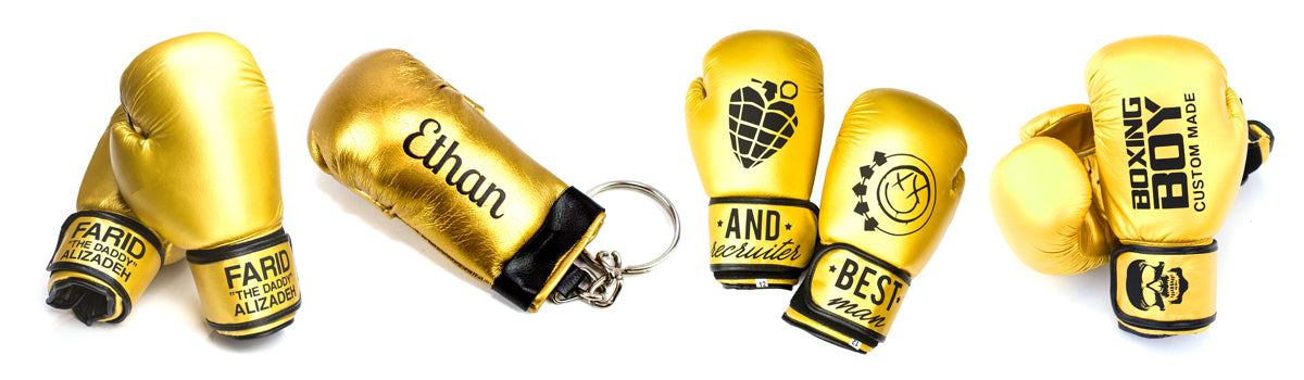Gold Boxing Gloves - Printed, Personalised or Plain - Boxing Boy Custom