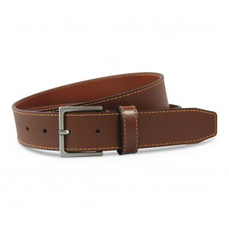 Print Leather Belt cognac