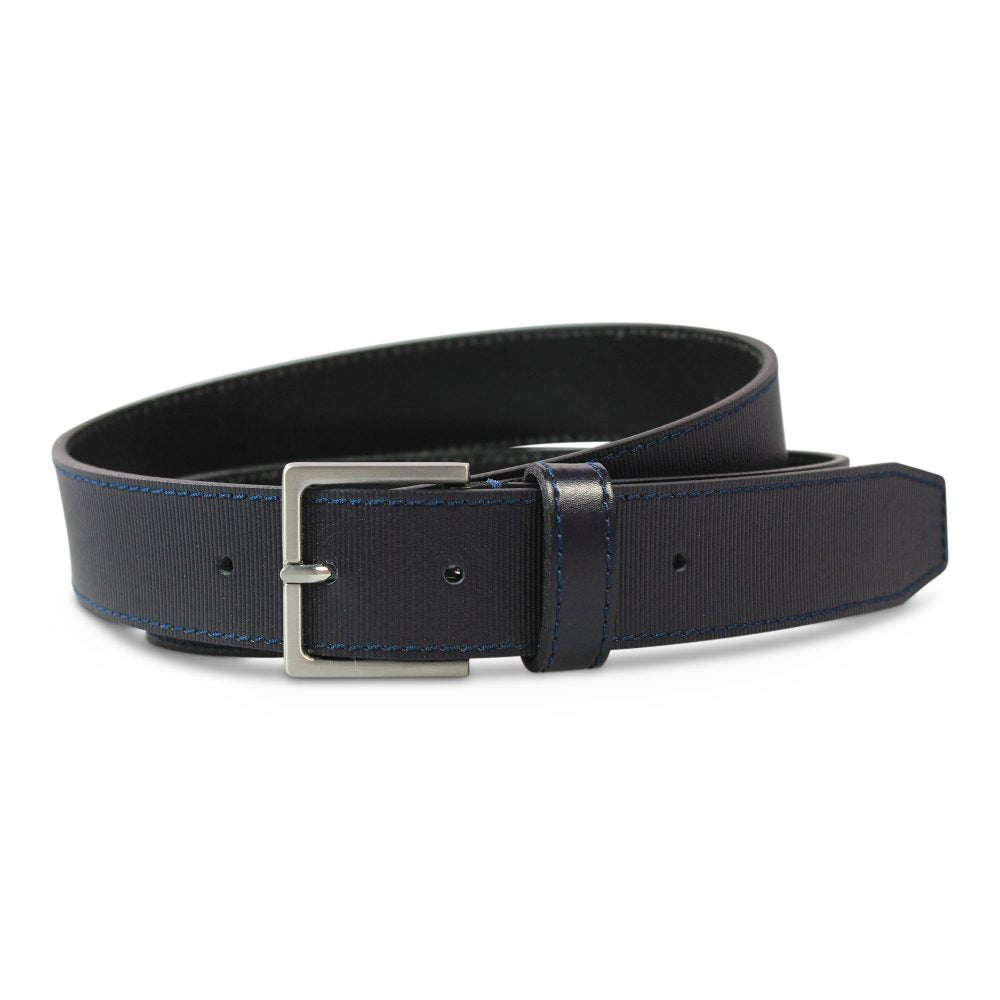 Print Leather Belt blue