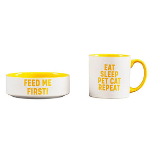 Mug & Pet Bowl Set Cat