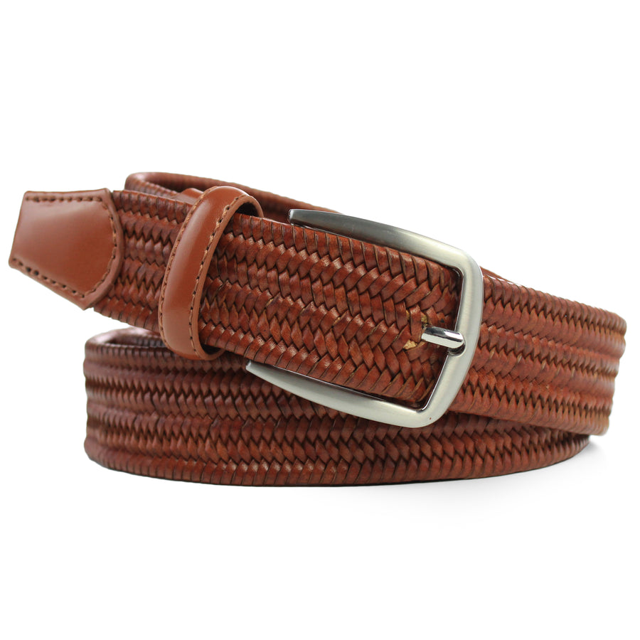 Braided Leather Elasticated Belt Cognac