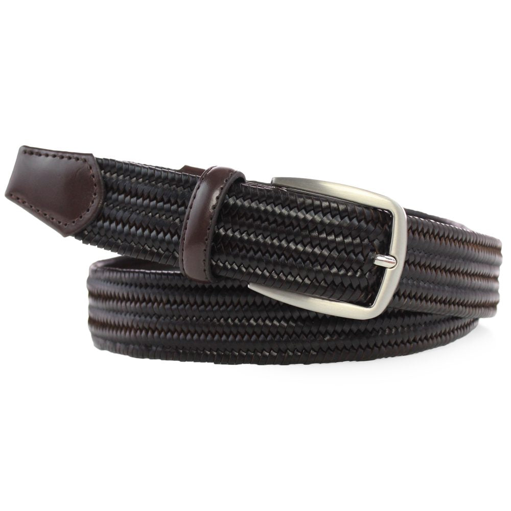 Braided Leather Elasticated Belt dark brown